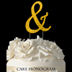 Gold Monogram Cake Topper - &