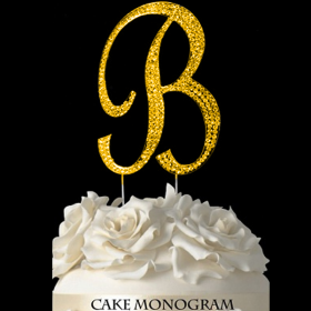 Gold Monogram Cake Topper - B