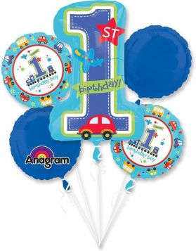 1st Birthday All Aboard Balloon Bouquet 5ct.