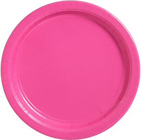 Bright Pink Paper Dinner Plates 20ct