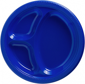 Bright Royal Blue  Plastic Divided Dinner Plates 20ct
