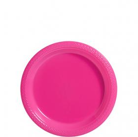 Bright Pink Plastic Dessert  Plates 20ct