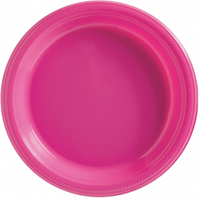 Bright Pink Plastic Dinner Plates 20ct