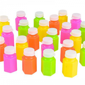 "2"" .6 OZ Neon Bubble Bottles 2 dz"