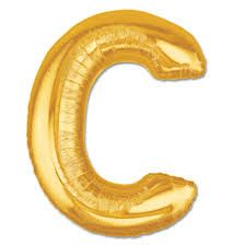 """34"""" Inch Letter C Gold Giant Foil Balloon Uninflated"""