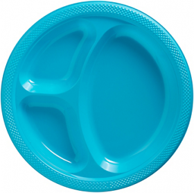 Carribbean Blue  Plastic Divided Dinner Plates 20ct