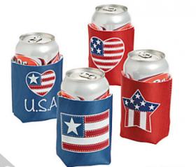 Foam Patriotic Can Covers (4pcs)