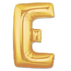 """34"""" Inch Letter E Gold Giant Foil Balloon Uninflated"""