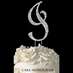 Silver Monogram Cake Topper - I