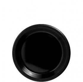 Jet Black Plastic Dessert  Plates 20ct