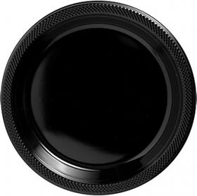 Jet Black Plastic Dinner Plates 20ct