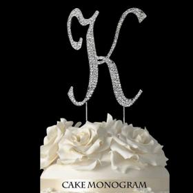 Silver Monogram Cake Topper - K