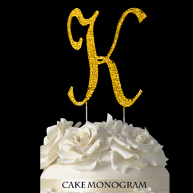 Gold Monogram Cake Topper - K