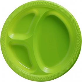 Kiwi  Plastic Divided Dinner Plates 20ct