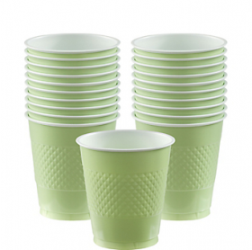 12oz Leaf Green Plastic Cups 20ct