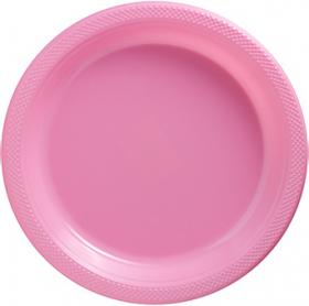 New Pink Plastic Dinner Plates 20ct