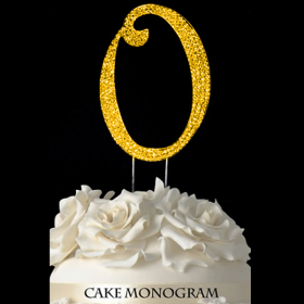 Gold Monogram Cake Topper - O