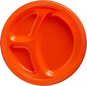 Orange Peel  Plastic Divided Dinner Plates 20ct