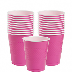 12oz Bright Pink Plastic Cups 20ct