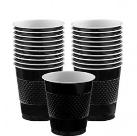12oz Jet Black Plastic Cups 20ct