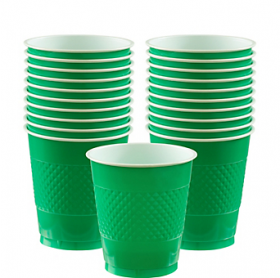 12oz Festive Green Plastic Cups 20ct