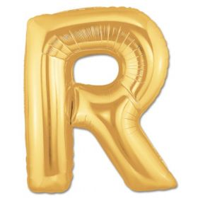"""34"""" Inch Letter R Gold Giant Foil Balloon Uninflated"""