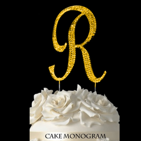 Gold Monogram Cake Topper - R