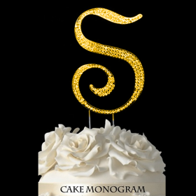 Gold Monogram Cake Topper - S