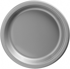 Silver Plastic Dinner Plates 20ct