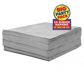 Silver Dinner Napkins 50ct