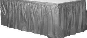 Silver Plastic Table Skirt