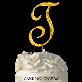 Gold Monogram Cake Topper - T