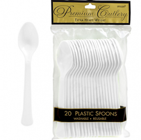 Frosty White  Premium Quality Plastic Spoons 20ct