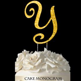Gold Monogram Cake Topper - Y