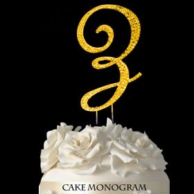 Gold Monogram Cake Topper - Z