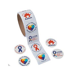 Paper Autism Awareness Roll Of Stickers 100pcs Roll